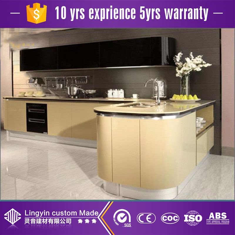 2017 modular customized MDF acrylic kitchen cabinet best factory price
