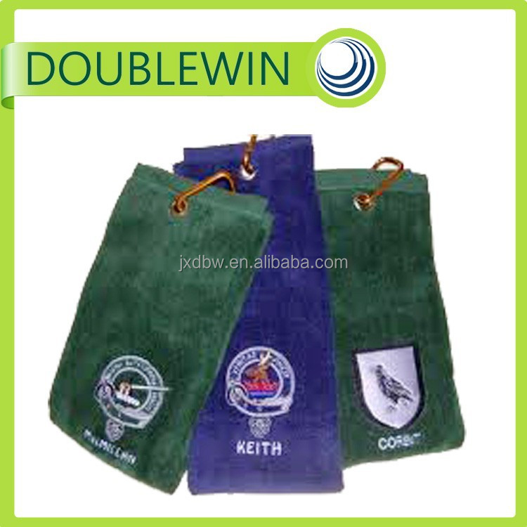 Best selling custom logo organic cotton mini golf towel , golf towel