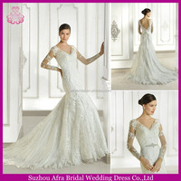 SD1226 muslim lace long sleeve wedding gowns mermaid beautiful wedding gowns with sheer sleeves