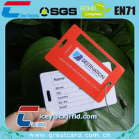 Plastic Luggage card tags with steel wire rope