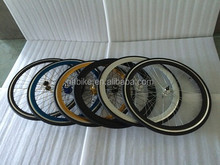 700C fixed gear bike wheel sets flip-flop hubs fixie gear bicycle wheel 43mm/50mm double triple wall alloy rim