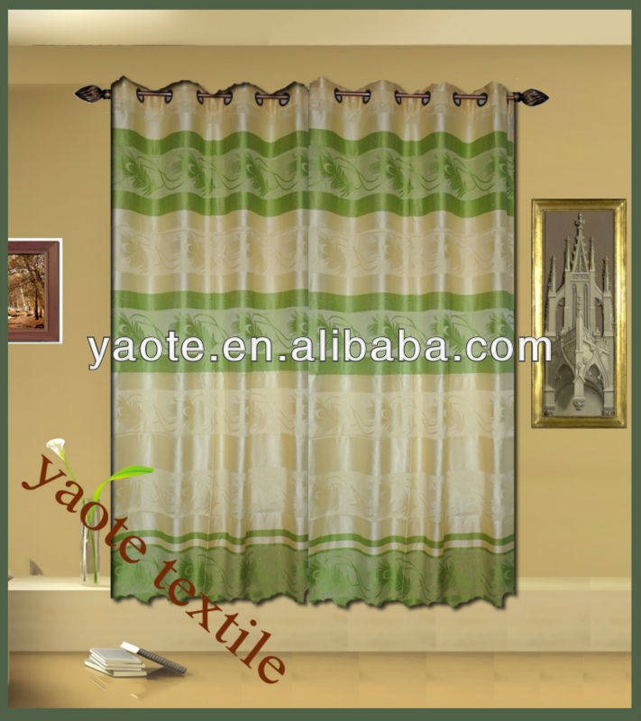 green jacquard golden line curtain with different colour