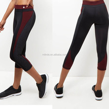 Guangzhou Clothing Factory Korean Fashion Leggings High Quality Burgundy Colour Block Spandex Cropped Sports Leggings Womens