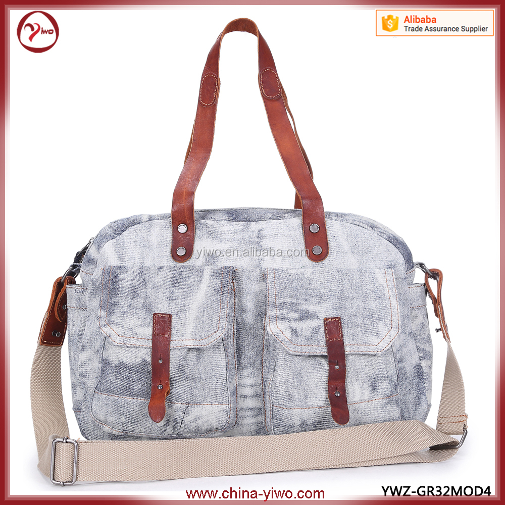 Low MOQ Fashion canvas denim retro hand bag wholesale
