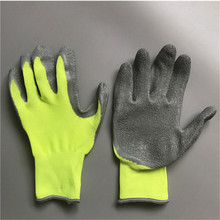 OPTIMA 13 Gauge Safety Palm Coated Wrinkle Latex Coated Rubber Gloves,more grip