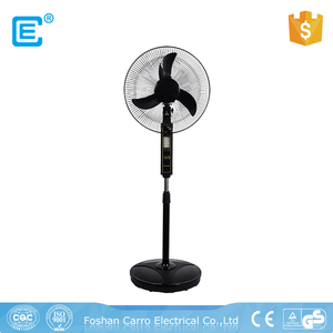 Safe operation 12V 16 inch AC DC double use rechargeable pedestal battery solar fan