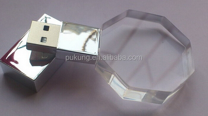 Hot sales gift crystal usb stick for computer, with laser engrave logo printing