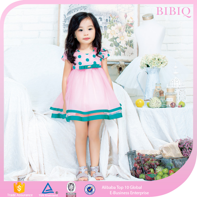Latest Children Clothes Frock Design Dot Print For Baby Girls