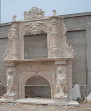 New products lion statue double fireplace in travertine