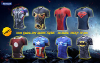 Classical super heroes compression shirt wholsale quick dry shirts, mens fitness clothing tights for 2016 men sports