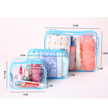 Promotional Ladies Elegant Big Waterproof Travel Cosmetic Bag pvc Transparent Toiletry Wash Bag