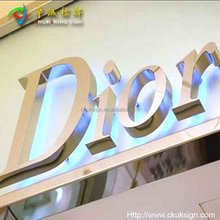 NEW! 3D letter with good factory price polishing stainless steel backlit LED letters sign