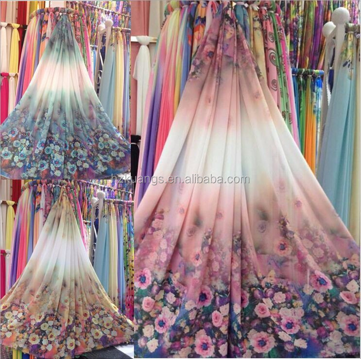 100% Polyester flowers digital printed chiffon fabric for cheap sale