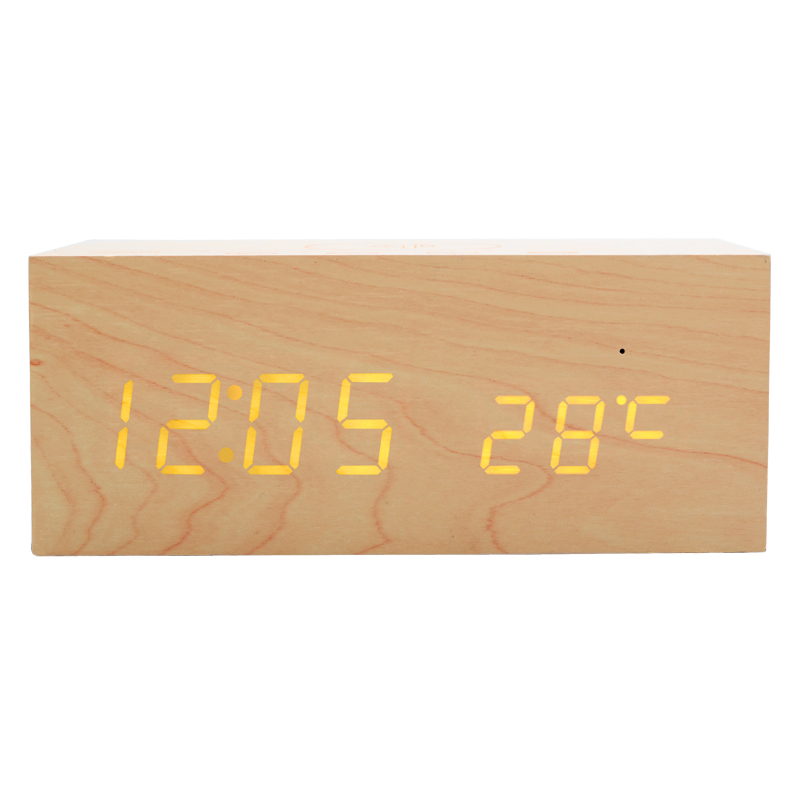 Manufacturer Custom Wooden Bluetooth Speaker led display touch screen with alarm clock qi charging