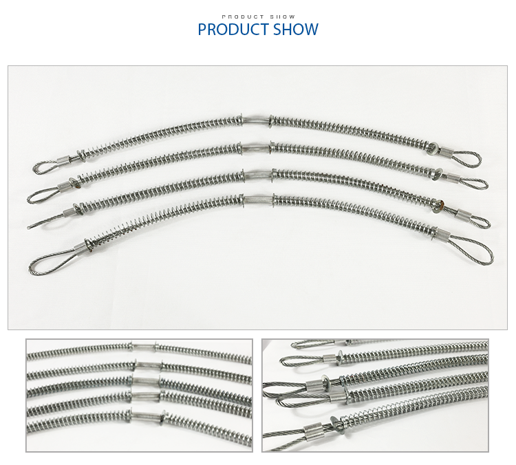 galvanized steel whipcheck cable whipcheck safety cable with spring