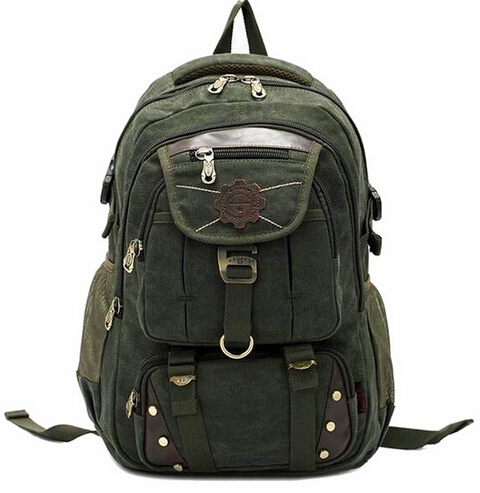 Customized high quality vintage canvas camping backpack