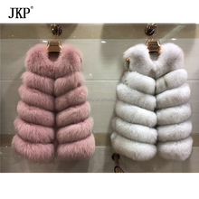winter 100% real natural fox fur Vest sleeveless long coat women genuine fox fur vest