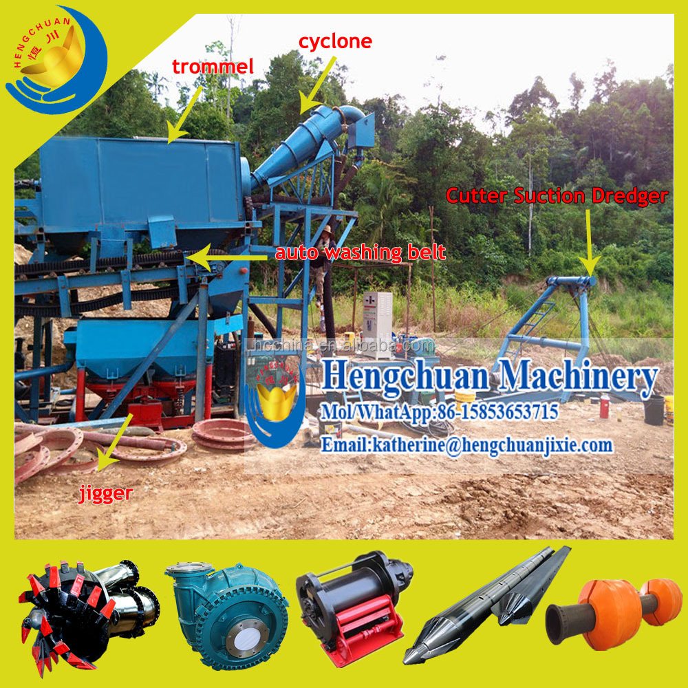 High Efficient China Supplier Cutter Head Type Diamond and Gold Mining Dredge with Diamond Jigger Machine and Slucie Box