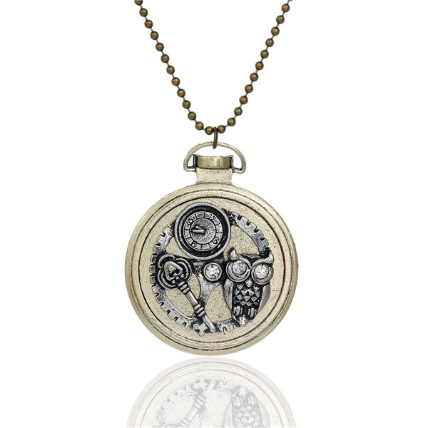 New Fashion Ball Chain Antique Bronze Round Halloween Owl Key Gear Pendant With Clear Rhinestone Steampunk Necklace