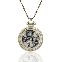 New Fashion Steampunk Necklace Ball Chain Antique Bronze Round Halloween Owl Key Gear Pendant With Clear Rhinestone