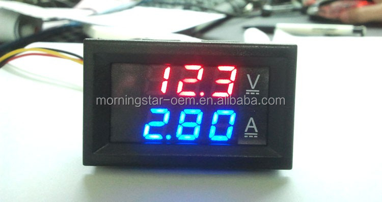 OEM Factory Customize Voltmeter Ammeter DC 100V 100A Voltage Current Meter LED tube Meter Dual Display Working voltage DC4-30V