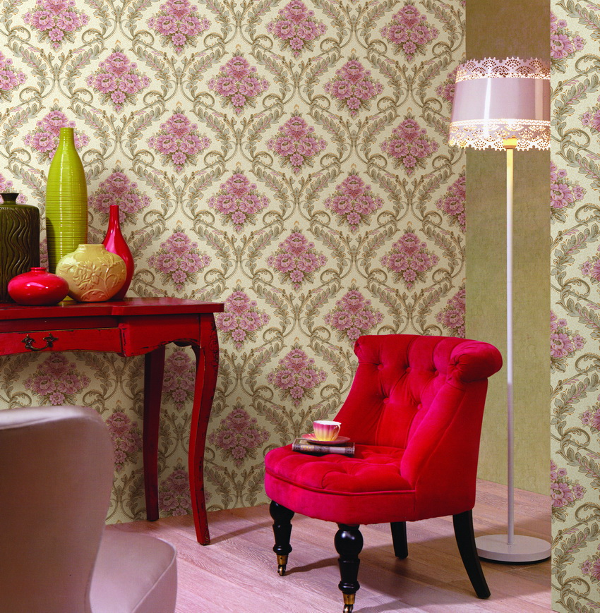 romantisch floralen design european style pvc tapeten. Black Bedroom Furniture Sets. Home Design Ideas