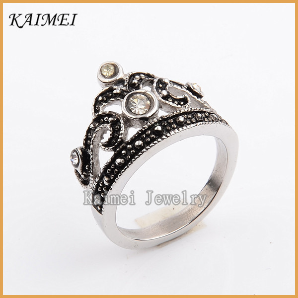 China Factory Stainless Steel Silver Diamond Jewelry Ancient Style Rings For Men