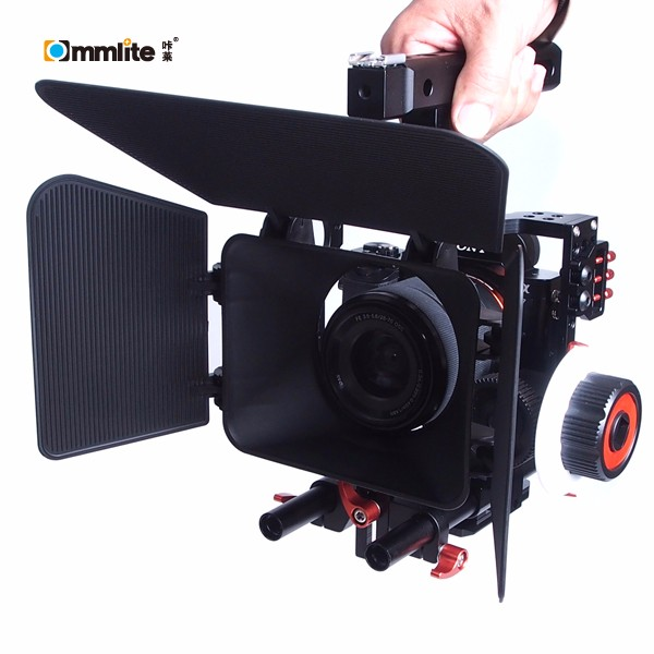 Commlite Comfortable Ergonomic Handle Stabilizer Camera Cage for Sony A7S A7 A7R Lumix GH3 GH4 with Pro Follow Focus Rig