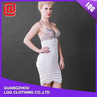 Wholesale white sequins decorated sex xxx clubwear mini dress