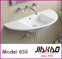 658 Unique Design Semicircular Thin Edge Drop-in Counter Wall Mounted Wash Basin