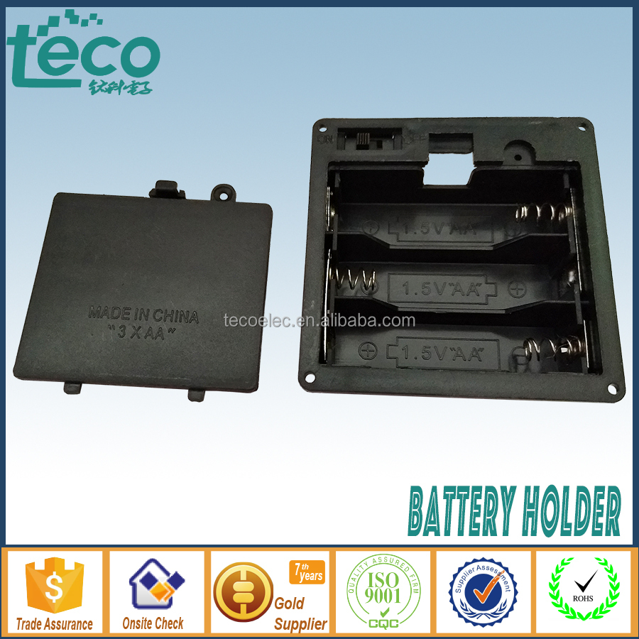 TBH-2A-3K Ningbo TECO 3 x 1.5V Battery Holder AA Panel Mounted with Cover & Switch