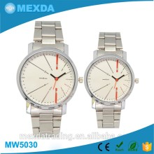 Generous couple fashion custom logo japan mov't stainless steel watch