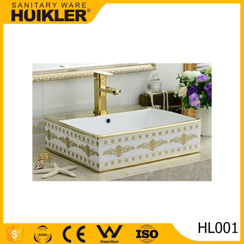 Chinese bathroom wash basin square basin golden art basin