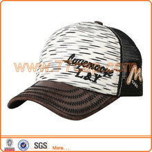 Special design leather brim baseball cap with mesh