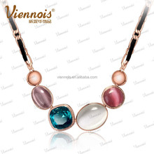 2017 Viennois Fashoin Cat Eyes Opal Stone Rhinestone Crystal Chain Necklaces Jewelry Set
