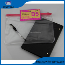 Cheap price B5 pencil pouch, clear plastic zipper bag, PVC packing