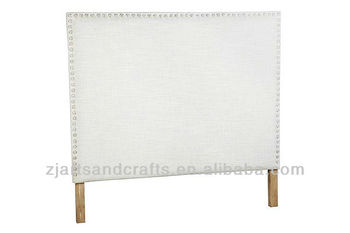 8006 bedroom head board ( birch wood/white linen fabric/diamond button )