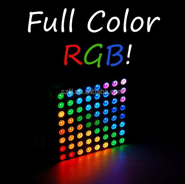 high density super bright colors 5mm 8*8 led dot matrix display rgb