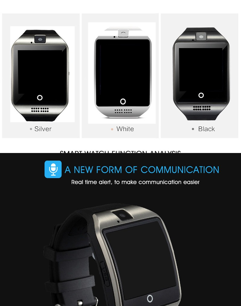 Smart watch q18 Multifonction with camera TF card Smart watches for Android IOS Phone for xiaomi samsung