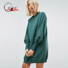 2018 New Design Long Sleeve Oversized Balloon Sleeve Sweat Dress