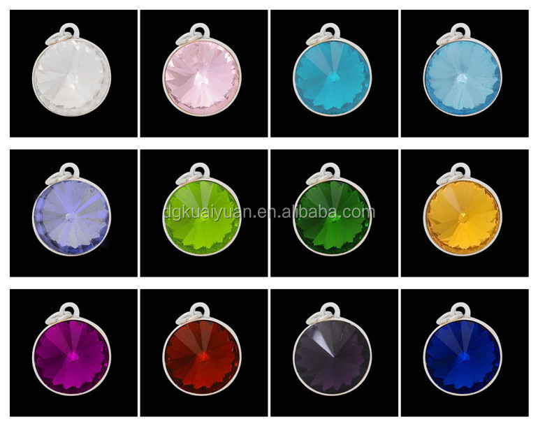 China wholesales 12 kinds of color stone europen hot selling birthstone ring pendant