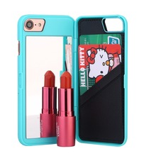 High Quality Luxury Lady make up 3D Dual Layer Card Slot Wallet Mirror Case cover For Iphone5 6 7 Plus
