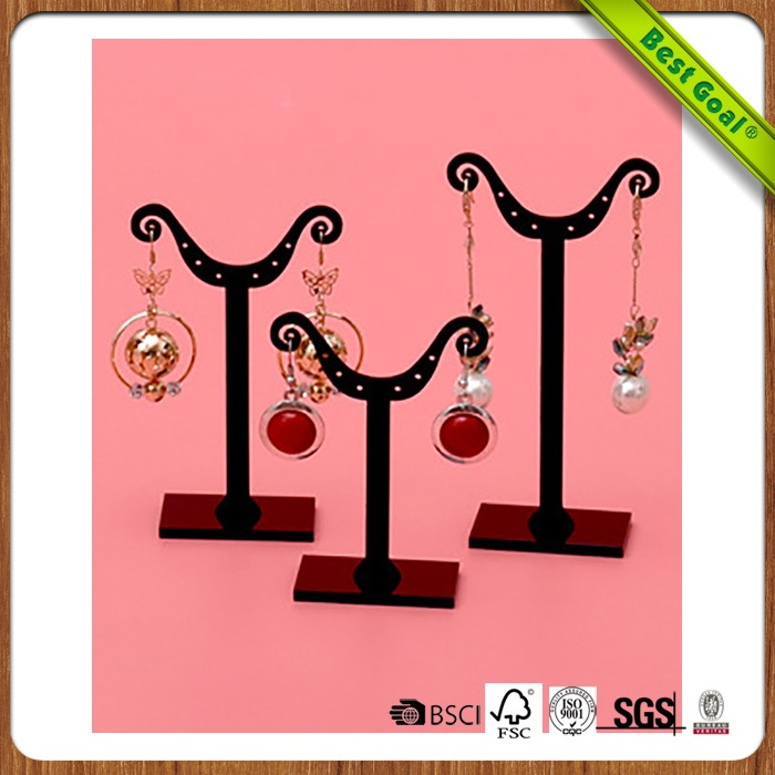 Transparent earring shelves jewelry display wooden shelf