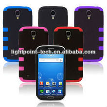 Fashionable design PC+lagging case for Samsung galaxy S4 I9500 TPU+silicone, 3 in 1,for Samsung galaxy S4 I9500