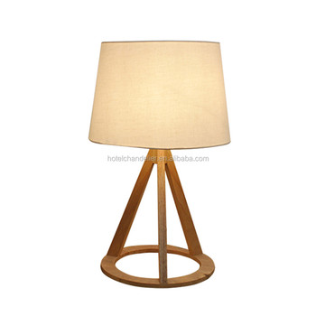 Modern hotel simple tripod wooden bedside table lamp for living room