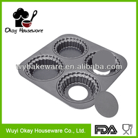 China Supplier BK-C0014 BSCI Xyflon 4 Cup Muffin Pan / Non Stick Pan with Cake Box