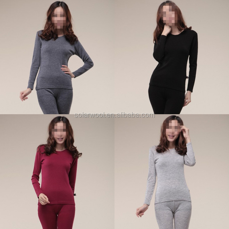 Superfine Merino Wool Ladies Long Sleeve Underwear