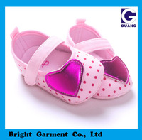 Cute Pink Baby Crib Shoes With Love Heart Ornament