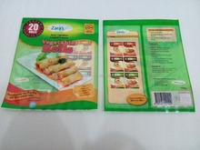 Three side heat sealed pet pe lamination plastic frozen food packing bag with clear window for samosa and spring roll packaging