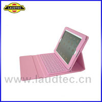 New baby pink Bluetooth Wireless Keyboard Leather Case Cover for ipad 4
